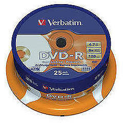 DVD-R AZO 16X 4.7GB Wide Silver Inkjet Printable No ID Proffesional