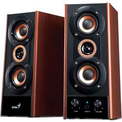 SP-HF800A, 2.0, 20W, line in, Negru & cherry wood