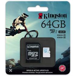 Action Camera, 64GB, MicroSDHC, Clasa 10 +  Adaptor SD