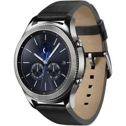 Gear S3 Classic, 1.3'' Super AMOLED Touch, Dual Core 1.0GHz, 768MB RAM, 4GB, Bluetooth 4.2, Curea piele, Negru/Argintiu