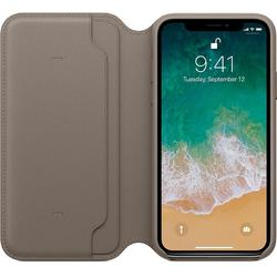 Leather Folio pentru iPhone X, Taupe