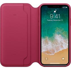 Leather Folio pentru iPhone X, Berry