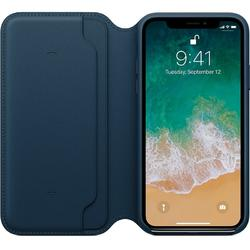 Leather Folio pentru iPhone X, Cosmos Blue