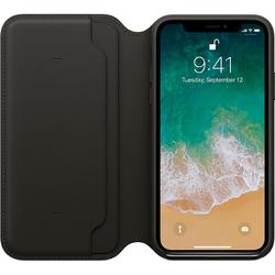 Leather Folio pentru iPhone X, Black