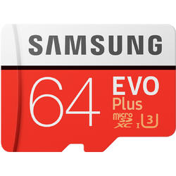 EVO Plus (Model 2017) Micro SDXC, 64GB, Clasa 10, UHS-I U3 + Adaptor SD