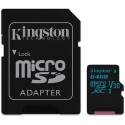 Canvas Go! Micro SDXC, 64GB, Clasa 10, UHS-I U3 + Adaptor SD