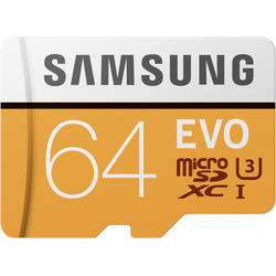 EVO (Model 2017) Micro SDXC, 64GB, Clasa 10, UHS-I U3 + Adaptor SD
