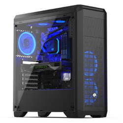 Regnum RG4T RGB Pure Black, Tempered Glass, MiddleTower, Fara sursa