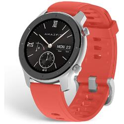 Amazfit GTR 42mm, Coral Red, curea silicon, Bluetooth, GPS si senzor PPG