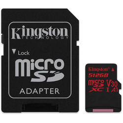 Micro SDXC Canvas React, 512GB, Clasa 10, UHS-I U3, V30 + Adaptor SD