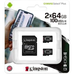 Micro SDXC Canvas Select Plus 100R, 64GB, Clasa 10, UHS-I + Adaptor, 2 Pieces