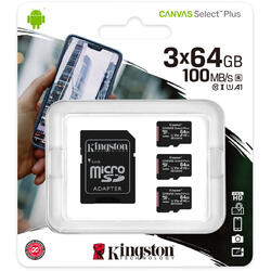 Micro SDXC Canvas Select Plus 100R, 64GB, Clasa 10, UHS-I + Adaptor, 3 Pieces