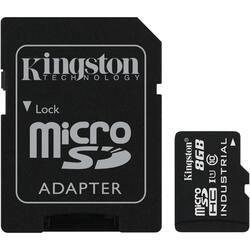 Micro SDHC Industrial, 8GB, Clasa 10, UHS-I + Adaptor SD