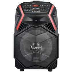 "tip troler, RMS 35W, 8"" woofer, acumulator 3.7V 1800 mAh, USB/microSD, Remote control, Wireless microphone, Black"