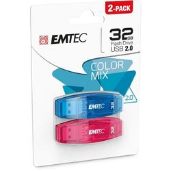 C410 Color Mix 2.0 32GB USB 2.0, Pack x 2, Blue Red