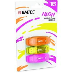 C410 Color Mix 2.0 16GB USB 2.0, Neon Pack x 3