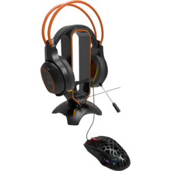 WH-200 3 in 1 Headphone Stand & Mouse Bungee & USB Hub Black